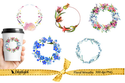 Floral Wreaths Clipart PNG transparent individual files