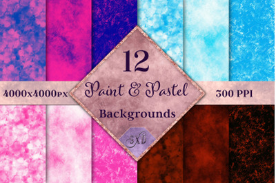 Paint & Pastel Backgrounds - 12 Image Textures Set