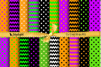 Halloween Scrapbooking Papers Chevron Polka Dots