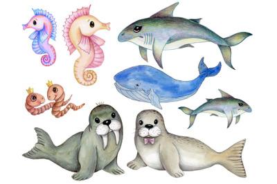 Sea animals. Hand drawn.