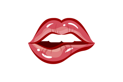 Sexy woman lips. Vector lipstick mouth, red female makeup
