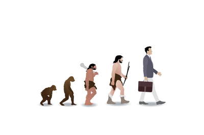 Human evolution from ape to businessman. Vector monkey and prehistoric