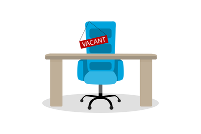 Vacant chair, hiring employment, recruitment candidate and hunting to