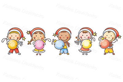 Happy kids with Christmas ornaments