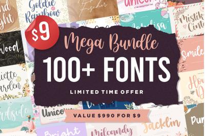 Mega Bundle 100 Plus Font | Limited Time Offer