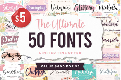 The Ultimate 50 Fonts   Limited Time Off