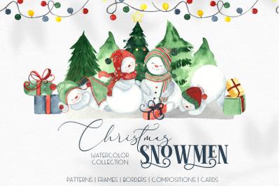 Watercolor Christmas snowmen