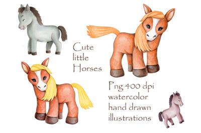 Cute Little Horses. Watercolor illustrations.