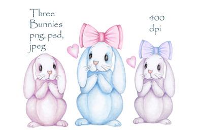 Tree Bunnies. Watercolor illustrations.