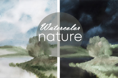 watercolor nature and landscape with tree and sky. Summer weather