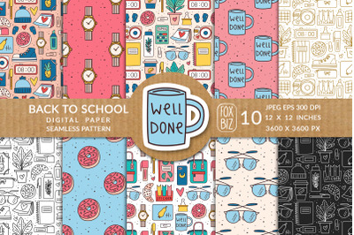 Back to school seamless pattern. JPEG, EPS vector.