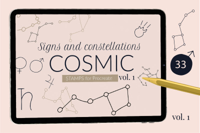Cosmic Procreate stamps with astronomic signs and constellations