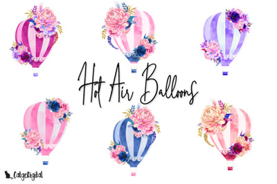 Hot Air Balloon Floral Clipart