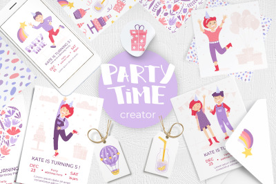 Party time! Clipart and templates.