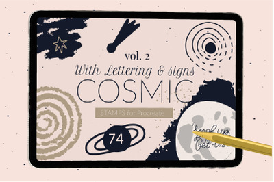 Cosmic constellations universe Procreate stamps and quotes