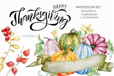 Thanksgiving Autumn watercolor clipart