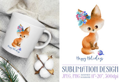 Happy holidays. Sublimation design with fox