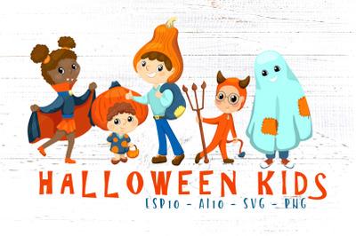 Cute Kids In Halloween Costume Vector Clipart