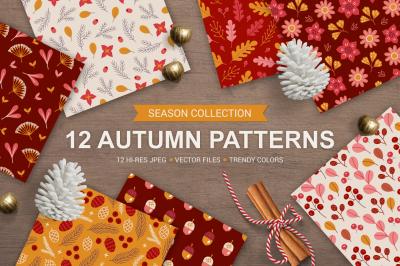 12 Autumn Seamless Patterns
