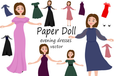 Paper doll with cutout clothes for evening dresses vector illustration