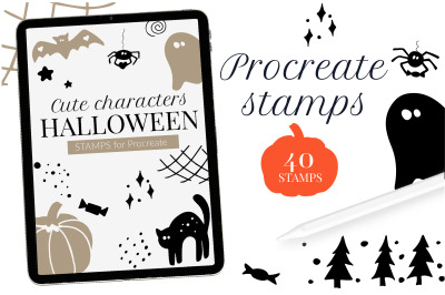 Halloween stamps for Procreate. Hand drawn cute Procreate brushes for