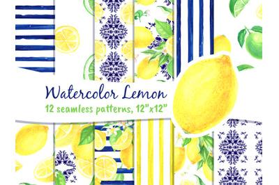 Lemon Digital Paper Watercolor Seamless Patterns