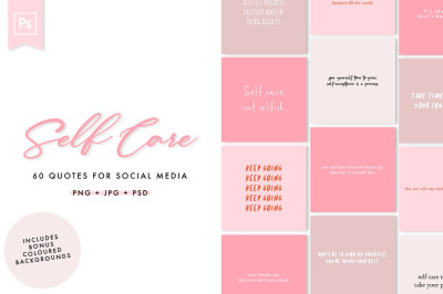 Self Care Social Media Quotes Pack