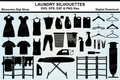 Laundry Silhouette bundle SVG, EPS, DXF and PNG cut files