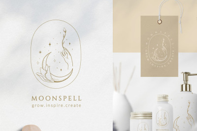 Premade Moon Brand Logo and Packaging Design for Blog, Small Business.