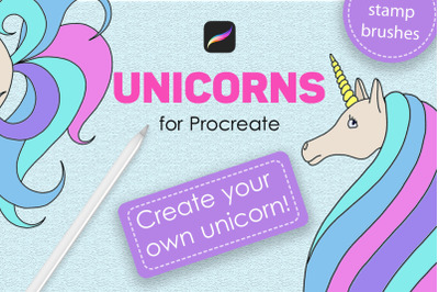 Unicorn procreate stamp brushes