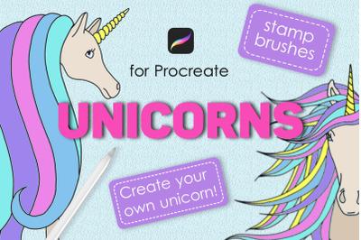 Unicorn procreate stamp brushes