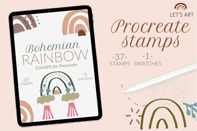 Abstract boho rainbow Procreate stamps. Rainbow brushes, abstract stam