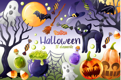 Halloween Watercolor Cliparts