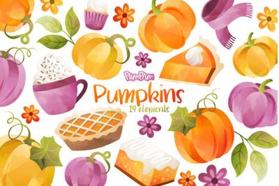 Pumpkin Watercolor Cliparts