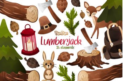 Lumberjack Watercolor Cliparts