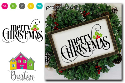 Merry Christmas with Holly Berry SVG| Christmas SVG File