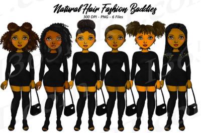 City Fashion Girls Black Woman Clipart Set