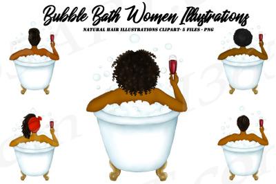 Black Woman Bathtub Clipart Self Care PNG