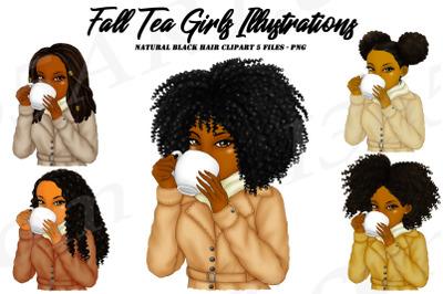 Fall Tea Sipping Girls Clipart Black Woman Clipart
