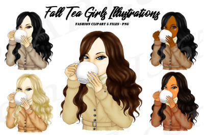 Fall Tea Sipping Girls Clipart Illustrations PNG