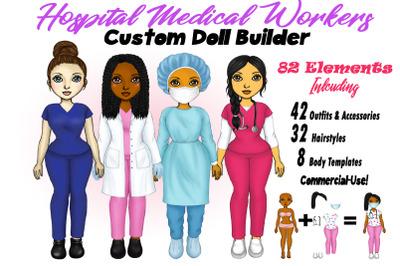 Custom Nurse Clipart, Doctor Clipart, RN Clipart Set