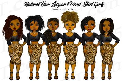 Leopard Print Clipart, Black Woman Clipart, Fashion Girl Clipart