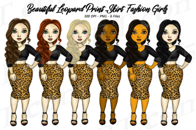 Leopard Print Clipart, Fashion Girls in Leopard Skirts PNG