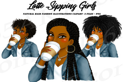 Black Woman Drinking Coffee Clipart, Sipping Tea Clipart