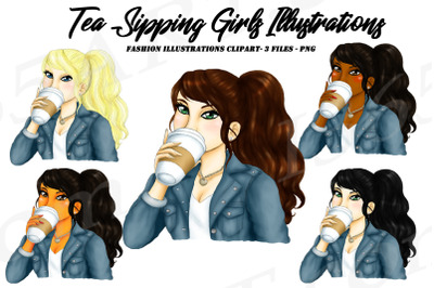 Latte Girls Clipart, Woman Drinking Latte Clipart PNG