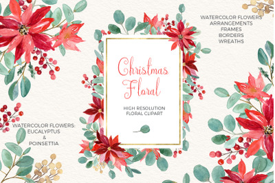 Christmas Floral. Eucalyptus and Poinsettia. Watercolor Clipart