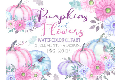 Watercolor pumpkin with floral decor clip art delicate pastel colors c
