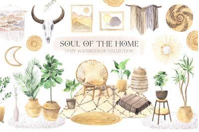Boho Home Interior Clipart