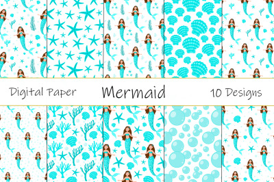 Collection Seamless Patterns Mermaid Vector Illustration