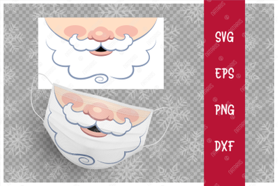 Funny mouth of Santa Claus for protective face mask.